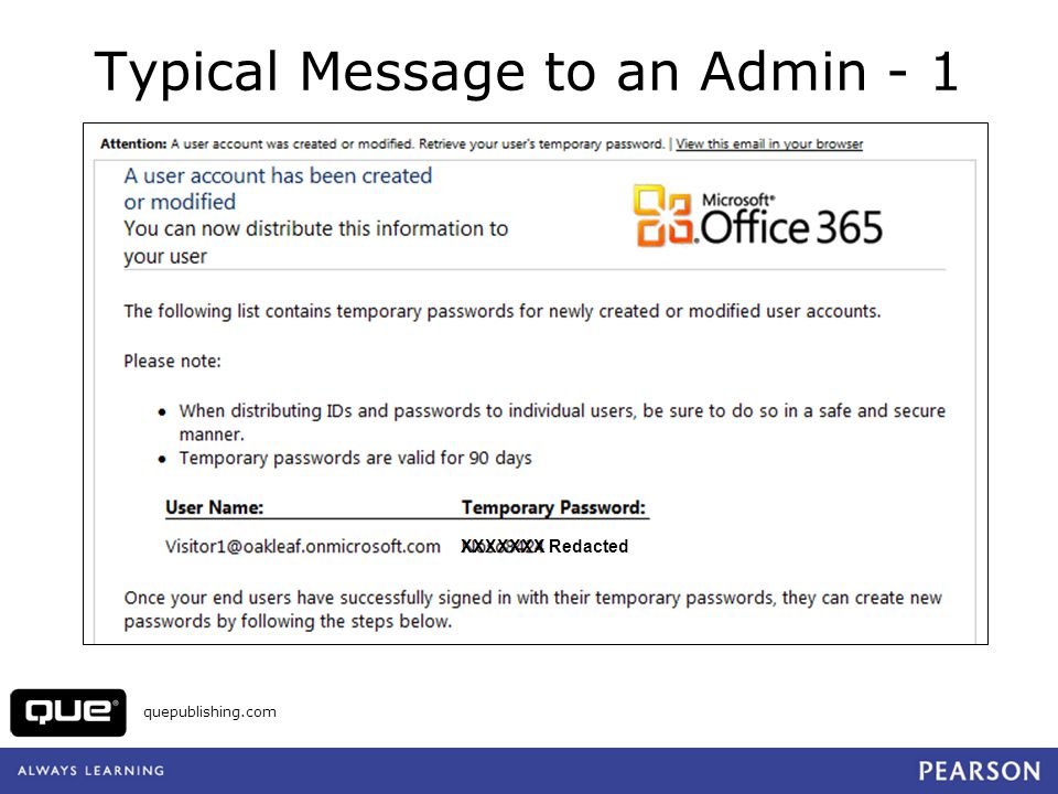 quepublishing.com Typical Message to an Admin - 1 XXXXXXX Redacted
