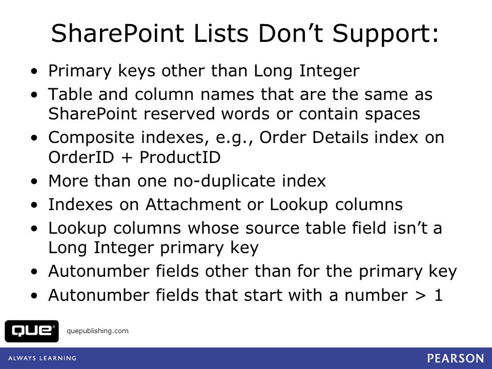 quepublishing.com Open Lists in SharePoint
