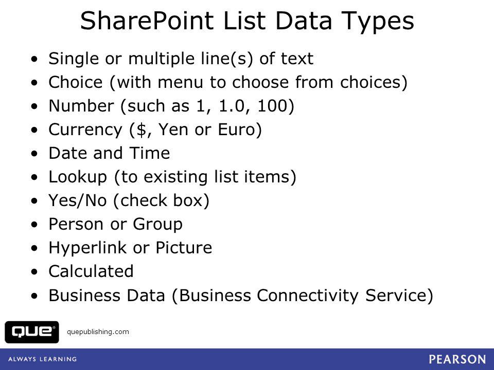 quepublishing.com View a List in Web Datasheet View