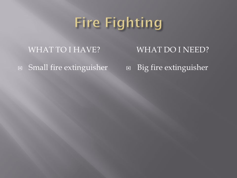 WHAT TO I HAVE WHAT DO I NEED Small fire extinguisher Big fire extinguisher
