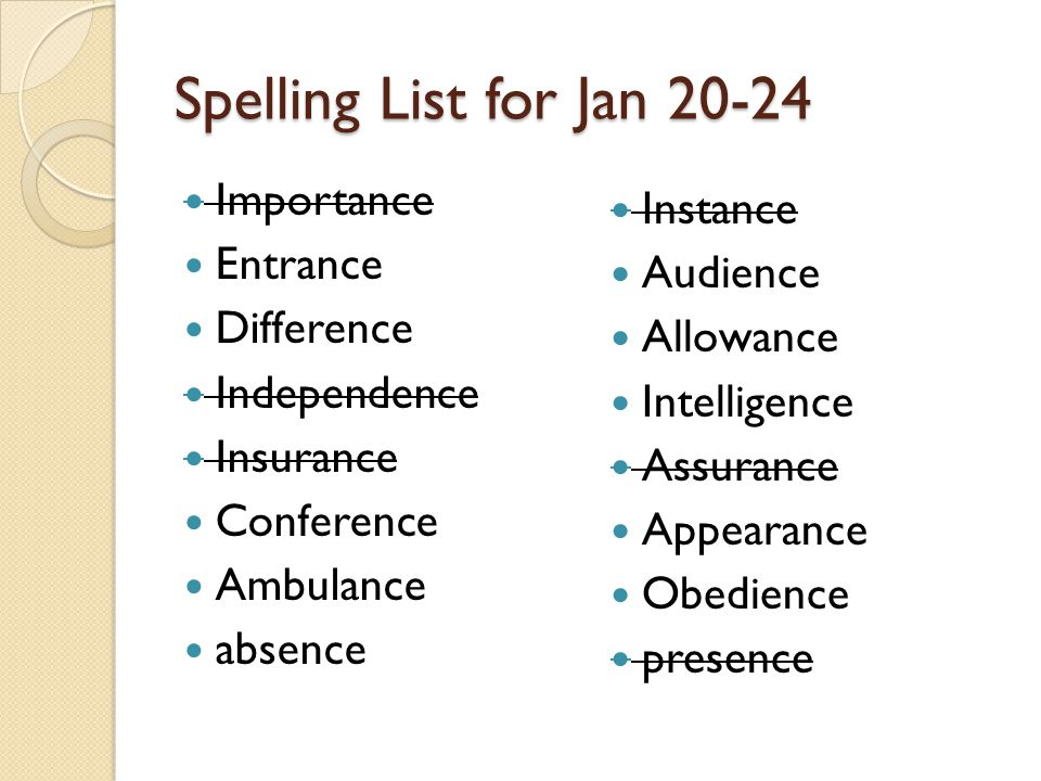 Spelling List for Jan 20-24 Importance Entrance Difference Independence Insurance Conference Ambulance absence Instance Audience Allowance Intelligence Assurance Appearance Obedience presence