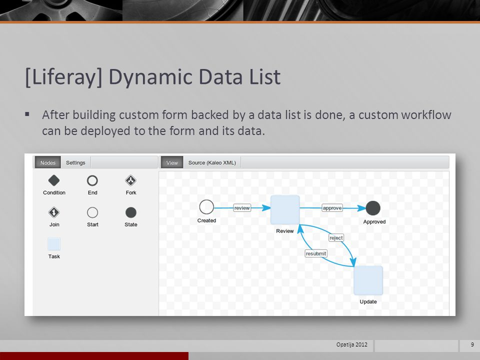 [Liferay] Dynamic Data List After building custom form backed by a data list is done, a custom workflow can be deployed to the form and its data.