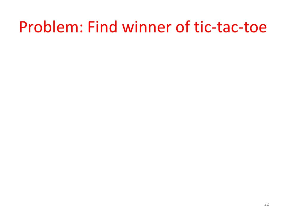 Problem: Find winner of tic-tac-toe 22