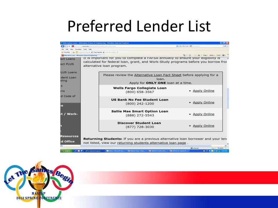 Preferred Lender List