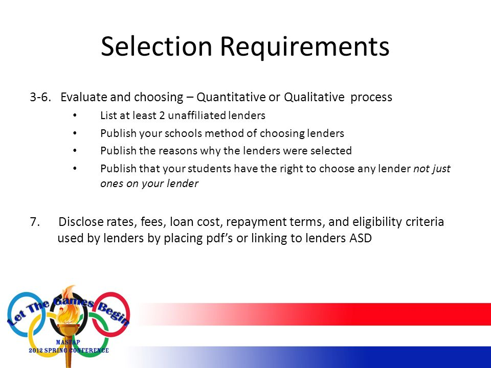 Selection Requirements 3-6.
