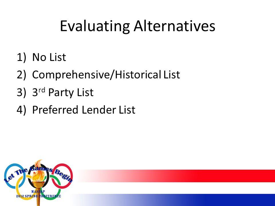 Evaluating Alternatives 1)No List 2)Comprehensive/Historical List 3)3 rd Party List 4)Preferred Lender List