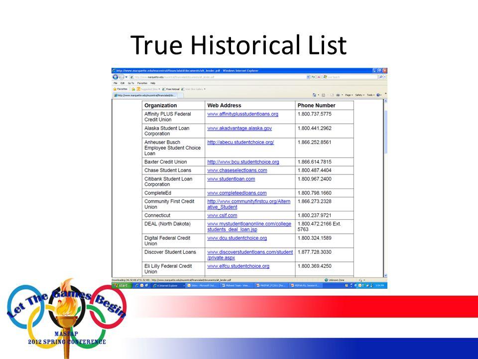 True Historical List