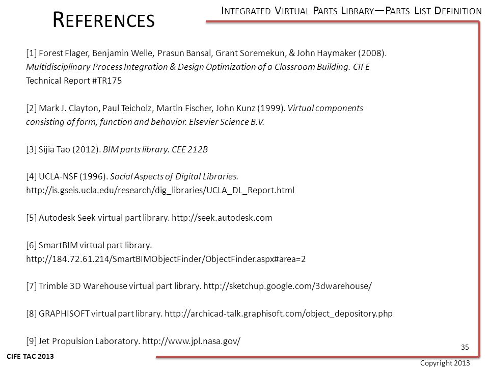 I NTEGRATED V IRTUAL P ARTS L IBRARY P ARTS L IST D EFINITION CIFE TAC 2013 [1] Forest Flager, Benjamin Welle, Prasun Bansal, Grant Soremekun, & John