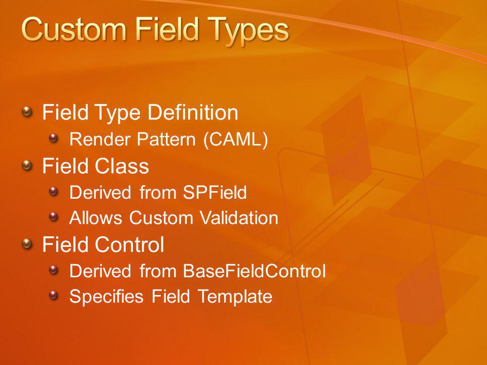 Field Type Definition Render Pattern (CAML) Field Class Derived from SPField Allows Custom Validation Field Control Derived from BaseFieldControl Specifies Field Template