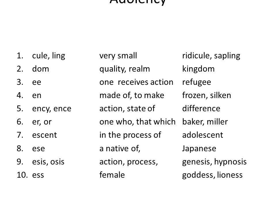 Adolency 1.cule, ling very smallridicule, sapling 2.domquality, realmkingdom 3.eeone receives actionrefugee 4.enmade of, to make frozen, silken 5.ency