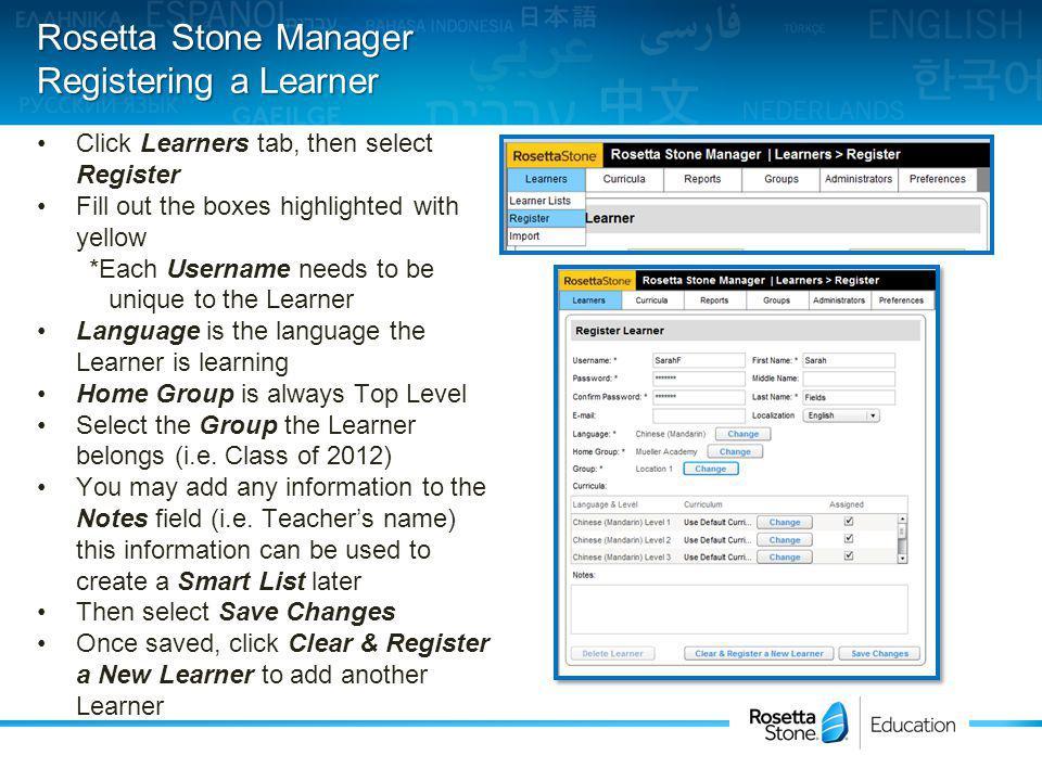 Rosetta Stone Manager Learner Details