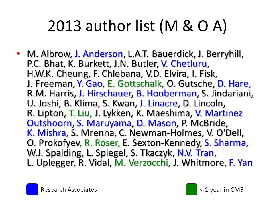 2013 author list (M & O A) M. Albrow, J. Anderson, L.A.T.