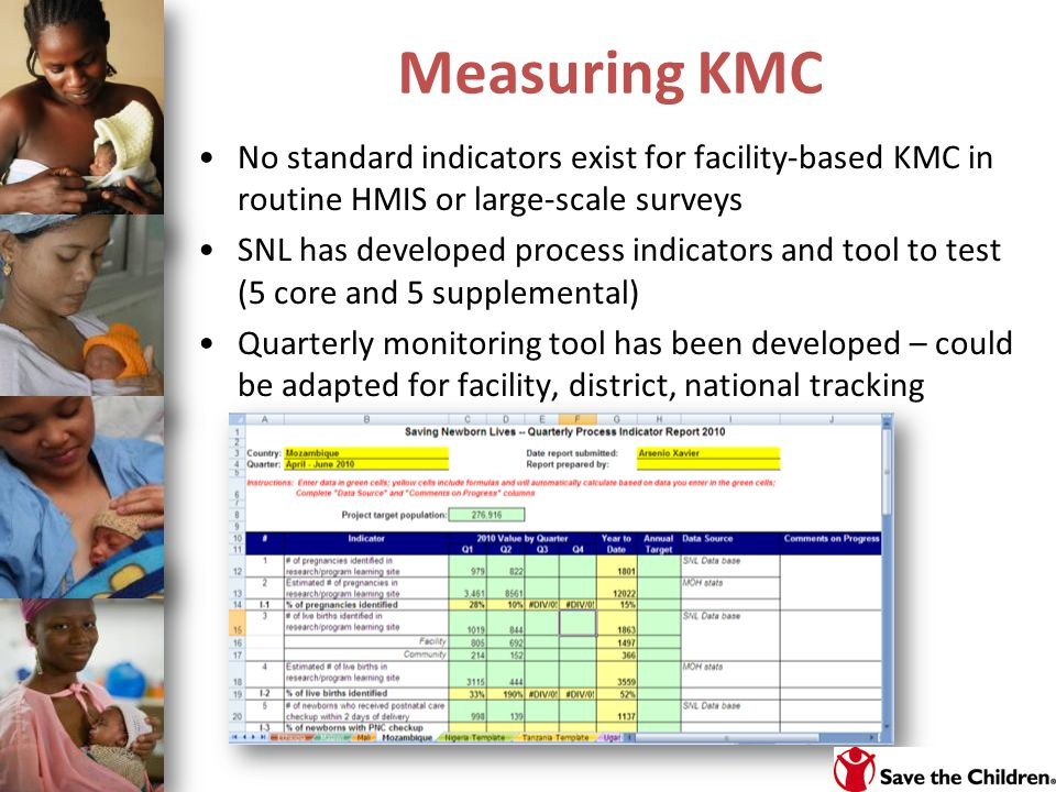 Measuring KMC No standard indicators exist for facility-based KMC in routine HMIS or large-scale surveys SNL has developed process indicators and tool