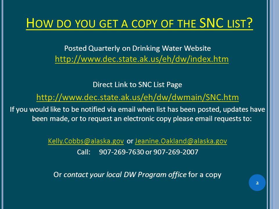 H OW DO YOU GET A COPY OF THE SNC LIST .