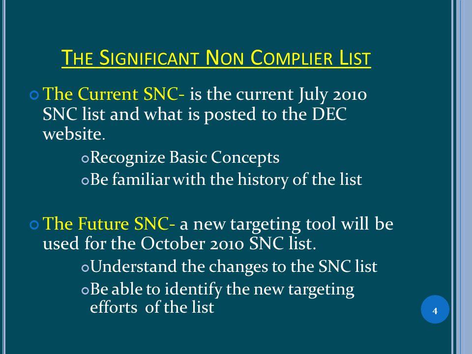 T HE C URRENT S IGNIFICANT NON - COMPLIER LIST INFORMATION What is the Significant Non Complier list.
