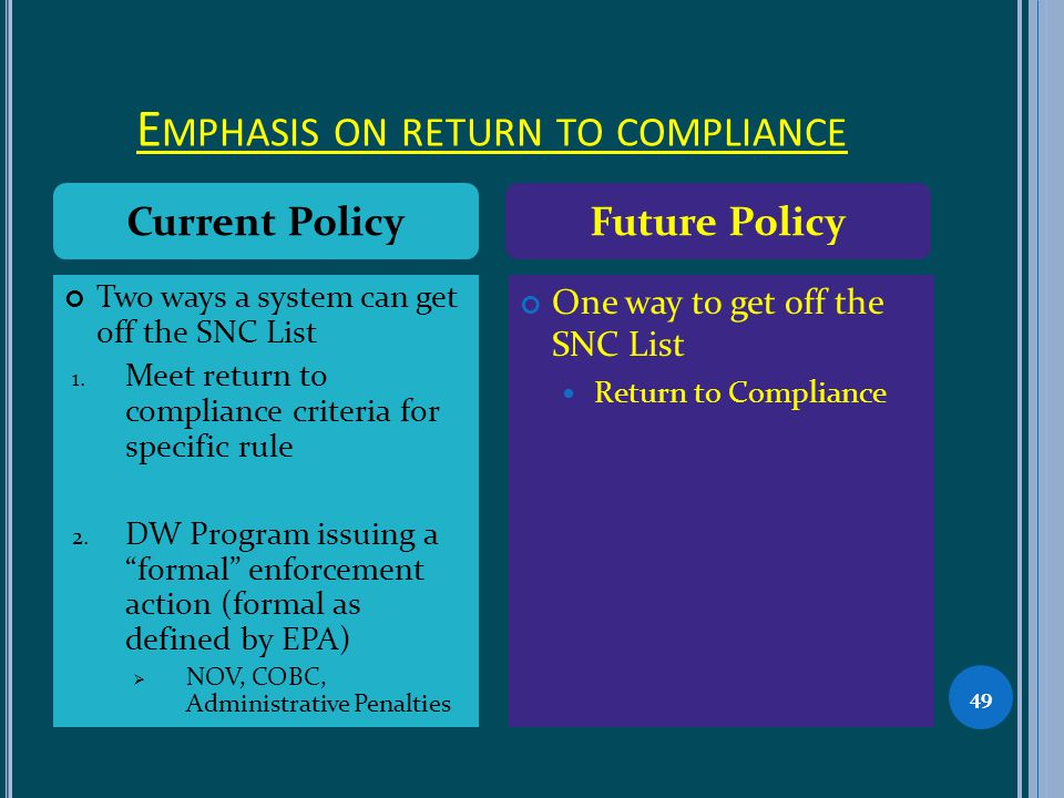 E MPHASIS ON RETURN TO COMPLIANCE 49 Two ways a system can get off the SNC List 1.