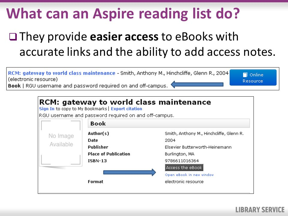 What can an Aspire reading list do? They provide easier access to eBooks with accurate links and the ability to add access notes.