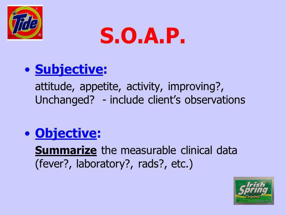 S.O.A.P. Subjective: attitude, appetite, activity, improving?, Unchanged? - include clients observations Objective: Summarize the measurable clinical