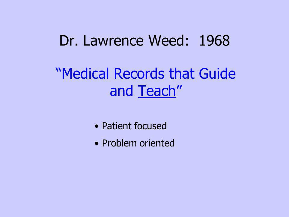Dr. Lawrence Weed: 1968 Medical Records that Guide and Teach Patient focused Problem oriented