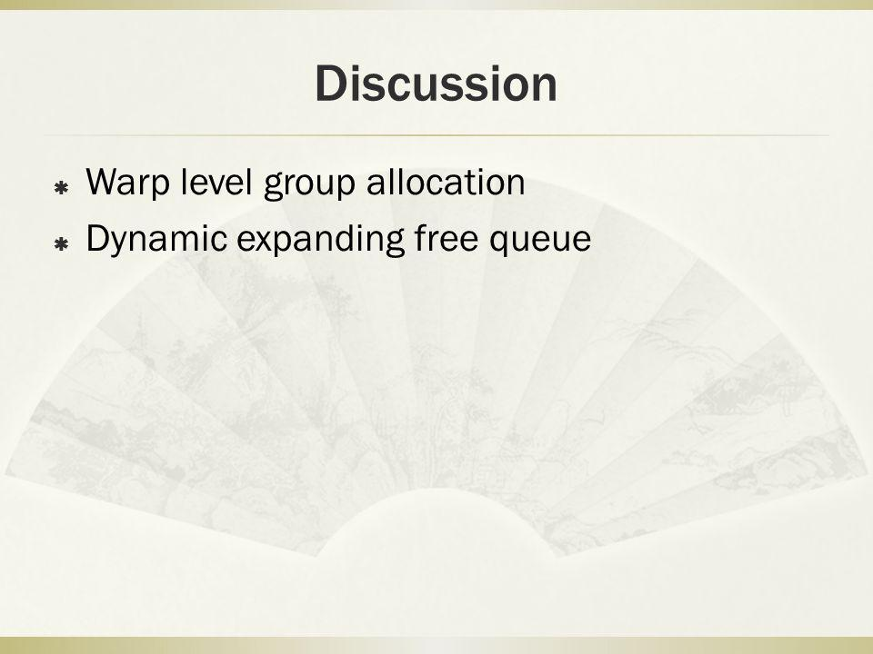 Discussion Warp level group allocation Dynamic expanding free queue