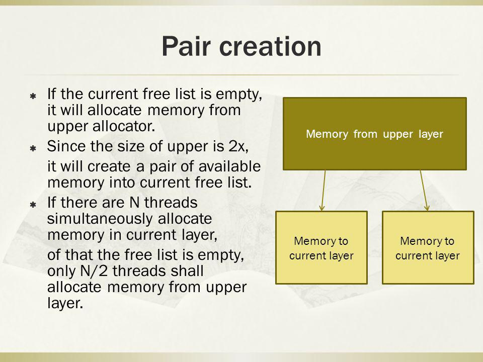 Pair creation If the current free list is empty, it will allocate memory from upper allocator. Since the size of upper is 2x, it will create a pair of