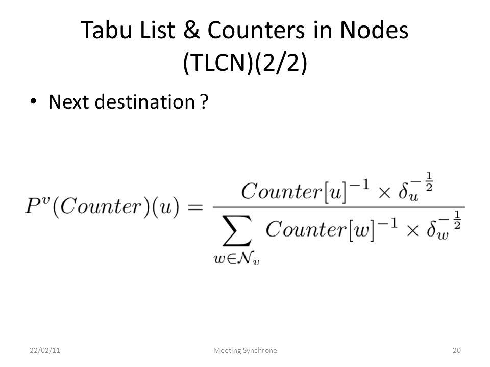 Tabu List & Counters in Nodes (TLCN)(2/2) Next destination ? 22/02/11Meeting Synchrone20
