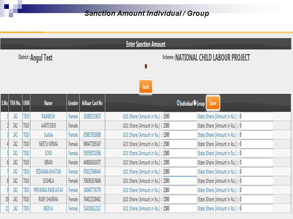 20 Sanction Amount Individual / Group