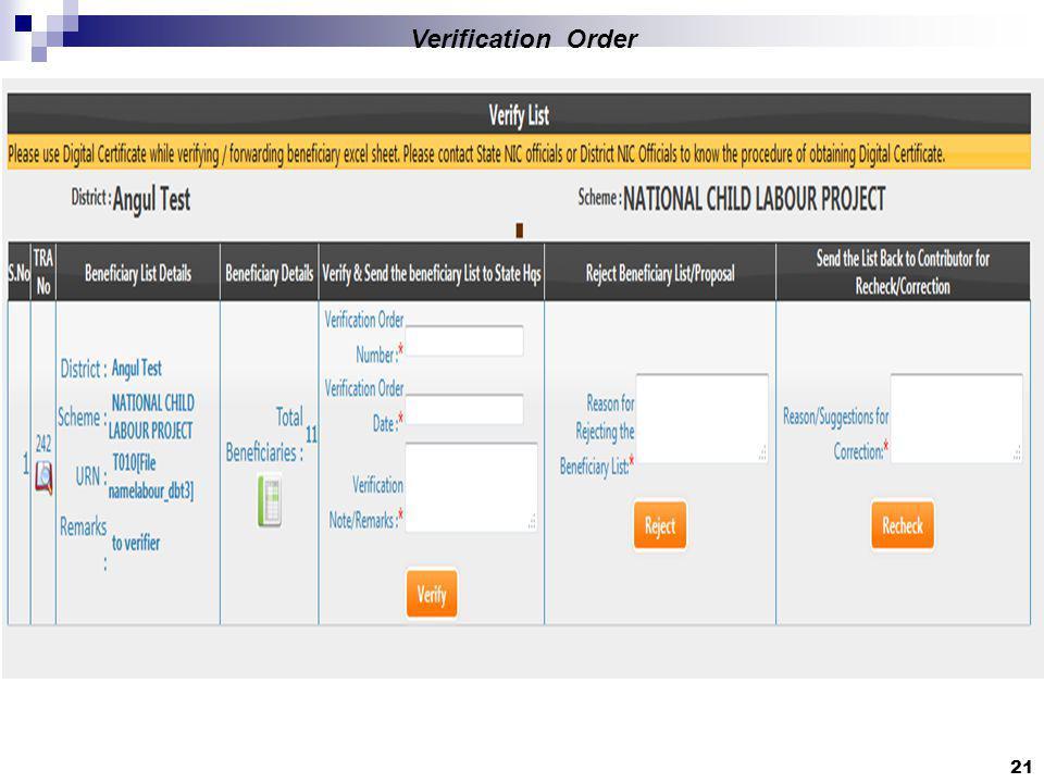 21 Verification Order