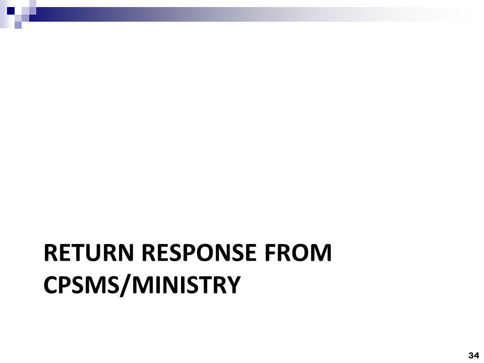 34 RETURN RESPONSE FROM CPSMS/MINISTRY