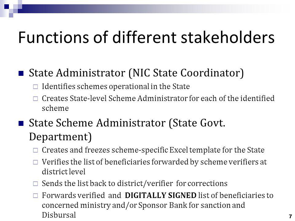 8 Functions of Different Stakeholders District Administrator (DIO, NIC) Identifies schemes applicable in the district Creates scheme-specific administrators District Scheme-specific administrators (District level Department) Creates scheme-specific verifier (only one per district)