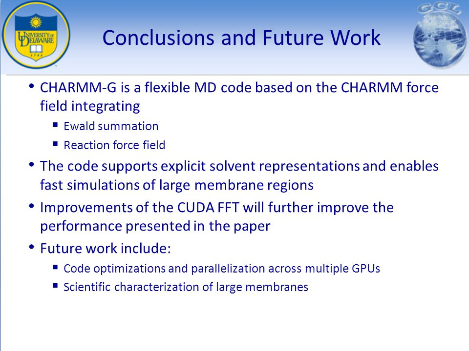 Conclusions and Future Work CHARMM-G is a flexible MD code based on the CHARMM force field integrating Ewald summation Reaction force field The code s