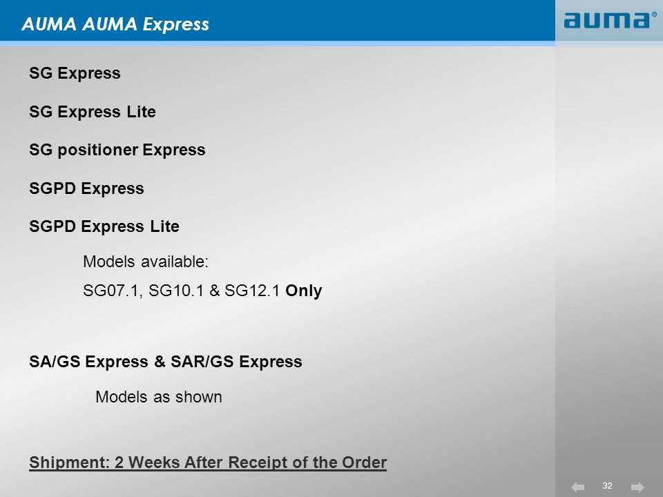 32 AUMA AUMA Express SG Express SG Express Lite SG positioner Express SGPD Express SGPD Express Lite Models available: SG07.1, SG10.1 & SG12.1 Only SA