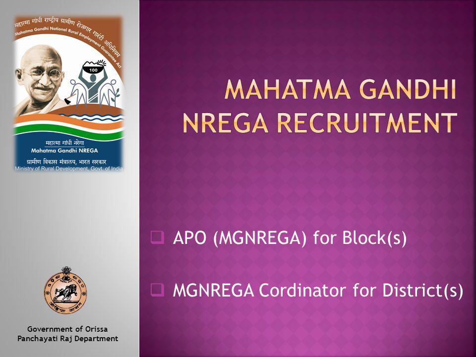 APO (MGNREGA) for Block(s) MGNREGA Cordinator for District(s) Government of Orissa Panchayati Raj Department