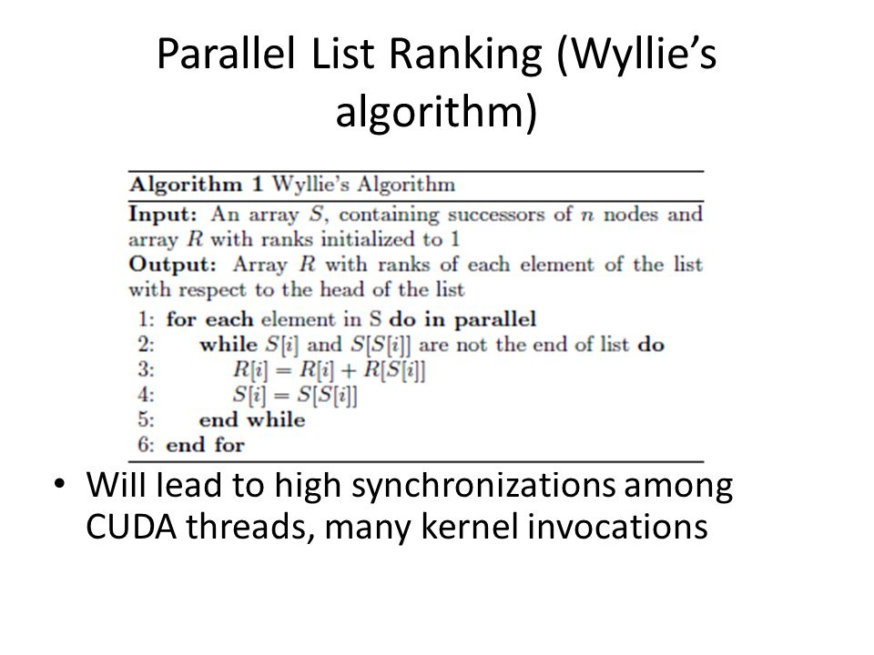 Parallel List Ranking (Wyllies algorithm) Will lead to high synchronizations among CUDA threads, many kernel invocations