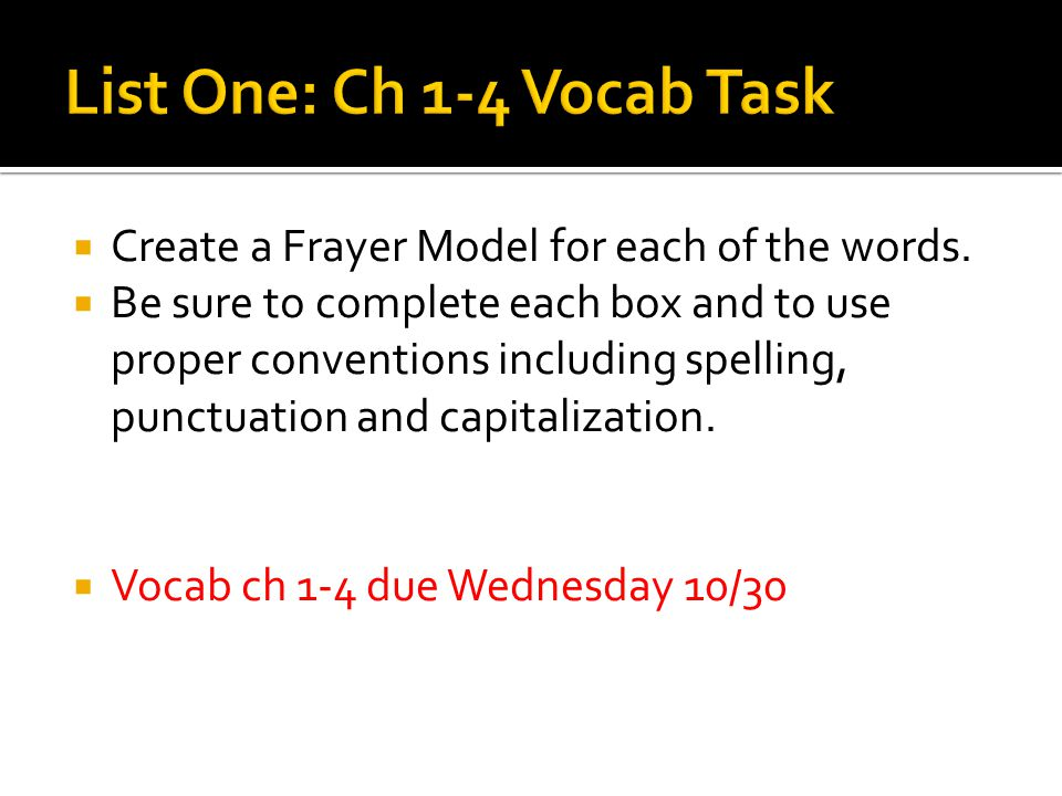 Create a Frayer Model for each of the words.