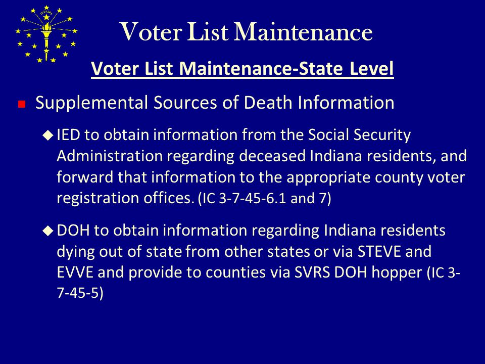 Voter List Maintenance Voter List Maintenance-State Level Supplemental Sources of Death Information IED to obtain information from the Social Security