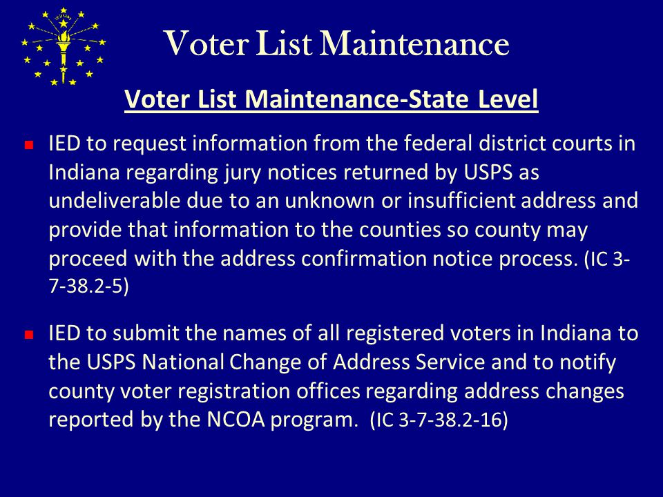 Voter List Maintenance Voter List Maintenance-State Level IED to request information from the federal district courts in Indiana regarding jury notice
