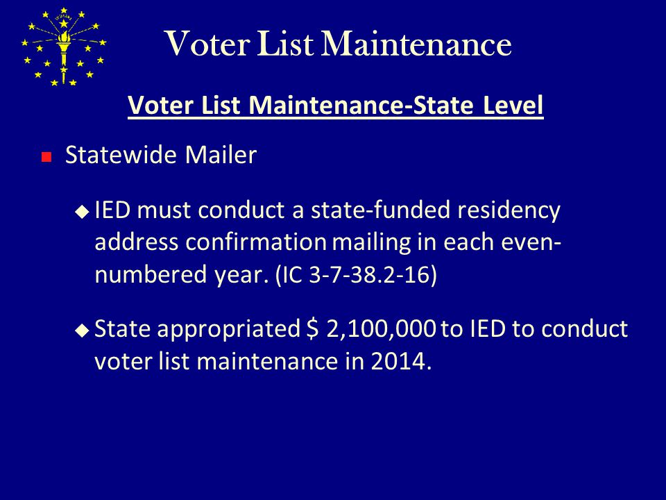 Voter List Maintenance Voter List Maintenance-State Level Supplemental Sources of Death Information IED to obtain information from the Social Security Administration regarding deceased Indiana residents, and forward that information to the appropriate county voter registration offices.