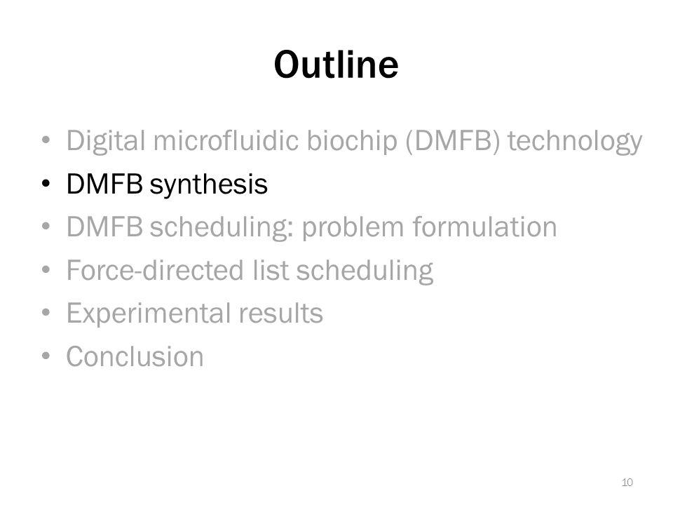 Outline Digital microfluidic biochip (DMFB) technology DMFB synthesis DMFB scheduling: problem formulation Force-directed list scheduling Experimental results Conclusion 10