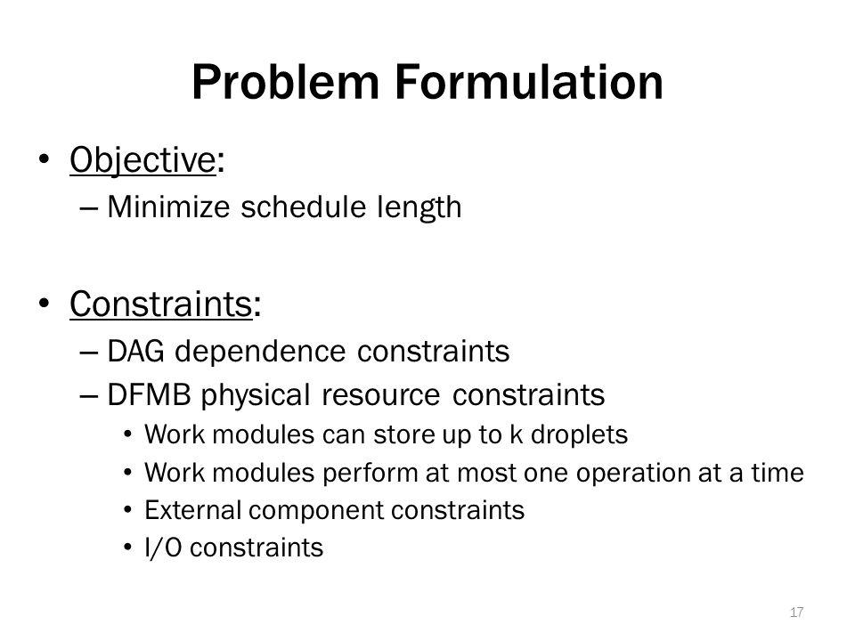 Problem Formulation Objective: – Minimize schedule length Constraints: – DAG dependence constraints – DFMB physical resource constraints Work modules can store up to k droplets Work modules perform at most one operation at a time External component constraints I/O constraints 17