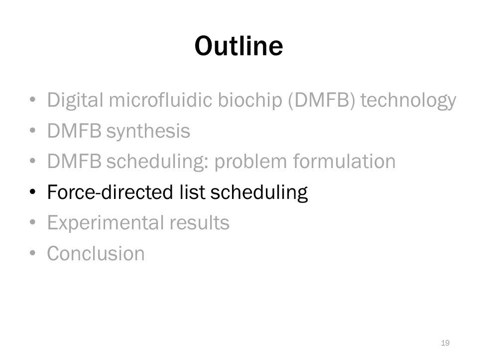 Outline Digital microfluidic biochip (DMFB) technology DMFB synthesis DMFB scheduling: problem formulation Force-directed list scheduling Experimental results Conclusion 19