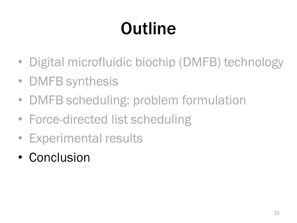 Outline Digital microfluidic biochip (DMFB) technology DMFB synthesis DMFB scheduling: problem formulation Force-directed list scheduling Experimental results Conclusion 33