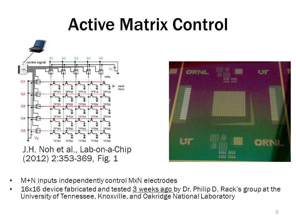 Active Matrix Control M+N inputs independently control MxN electrodes 16x16 device fabricated and tested 3 weeks ago by Dr.