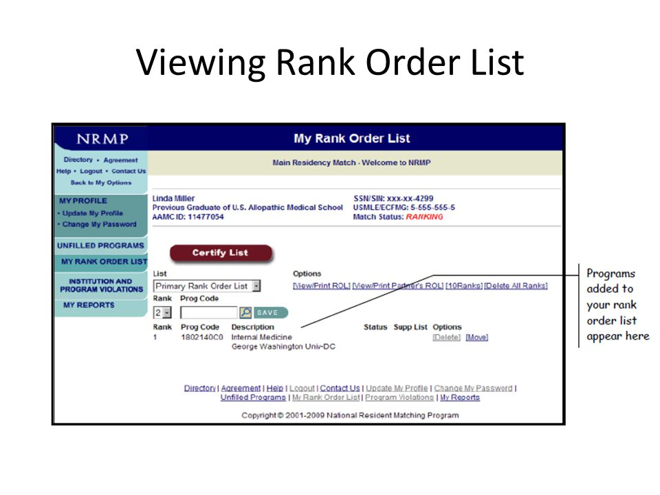 Viewing Rank Order List