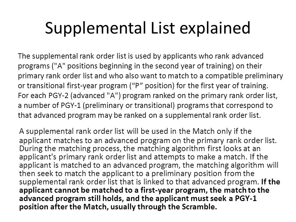 Supplemental List explained A supplemental rank order list will be used in the Match only if the applicant matches to an advanced program on the primary rank order list.