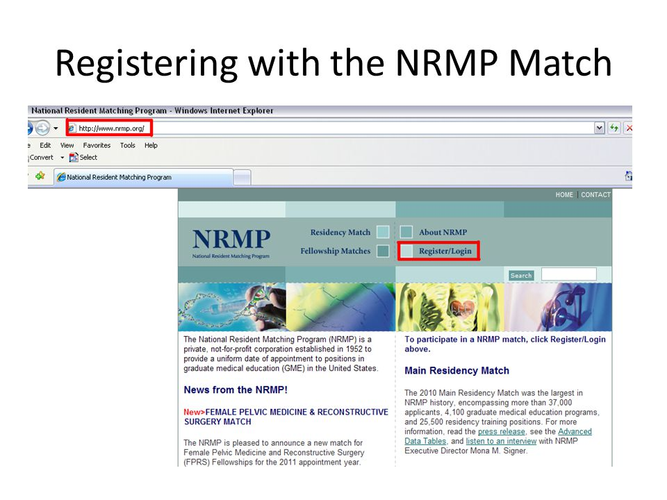 Registering with the NRMP Match