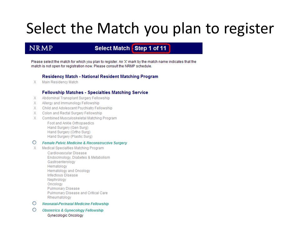 Select the Match you plan to register