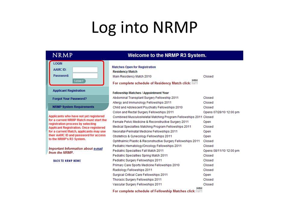 Log into NRMP