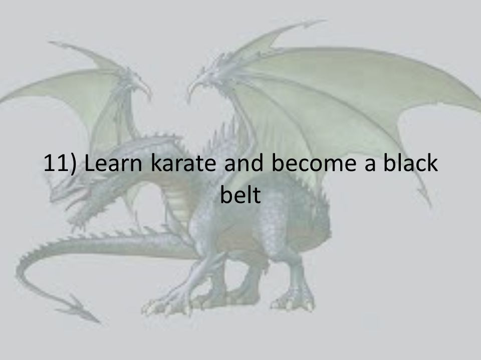 11) Learn karate and become a black belt