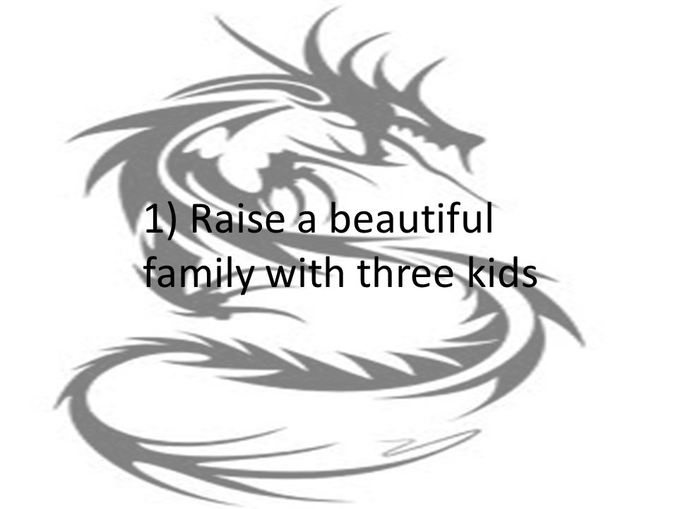1) Raise a beautiful family with three kids